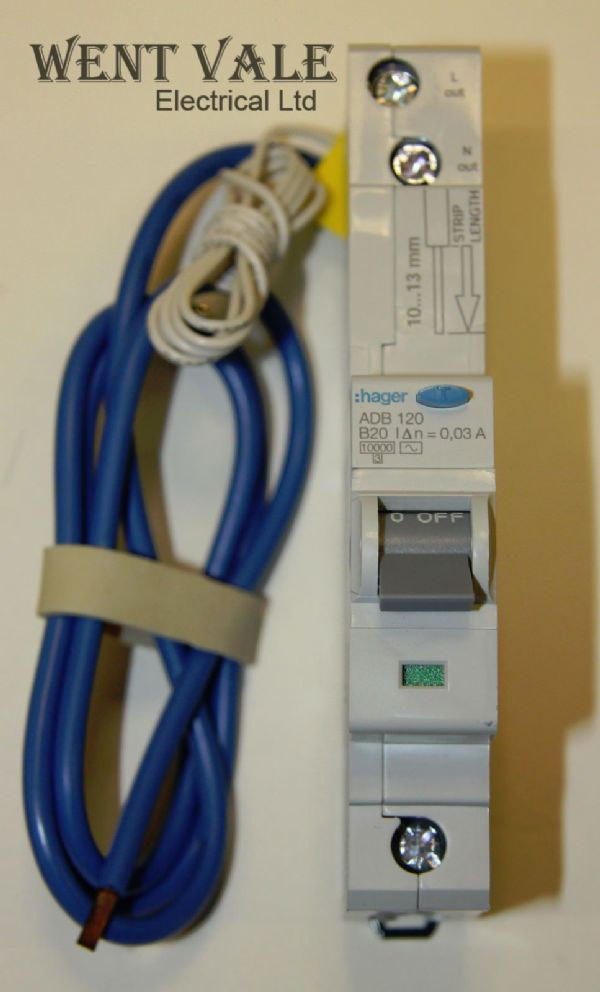 Hager - ADB120 - 20a 30mA Type B Single Pole RCBO New